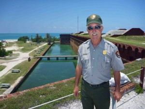 Mike Jester, site manager, atop Fort Jefferson