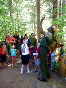 Shelton Johnson, a ranger featured in the PBS series, leads a junior ranger walk