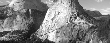 John Muir Trail, view of Nevada Fall, backside of Half Dome in the distance