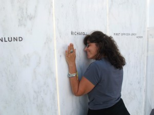 Lori Guadagno at the spot on the Flight 93 National Memorial wall with the name of her brother, Richard